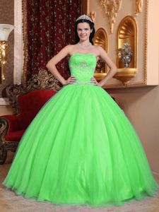 Spring Green Strapless Beaded Tulle and Taffeta Quinceanera Dresses