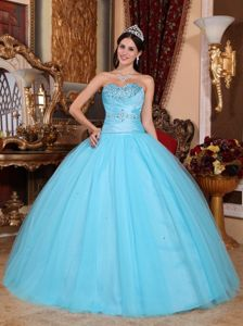 Lovely Baby Blue Strapless Beading Dress for Quince with Pleats