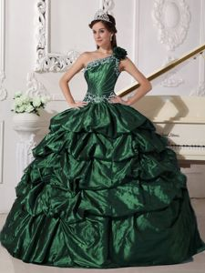 Dark Green one Shoulder Taffeta Pick-ups Appliqued Dress for 16