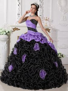 Lilac and Black Rolling Flowers Pick-ups Beading Quince Dresses