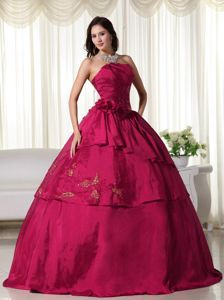Wine Red Strapless Tiered Beading Embroidery Sweet 15/16 Dress