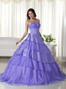 Light Purple one Shoulder Multi-tiered Quinceanera Party Dress