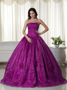 Fuchsia Strapless Beading Quinceanera Dresses with 3D Flowers