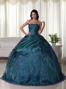 Teal Strapless Ruffled Embroidery Beading Quinceanera Party Dress