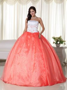 Strapless Embroidery Orange and White Dress for Quince Designer