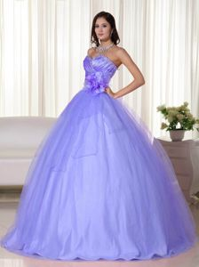 Lilac Sweetheart with Hand Made Flowers on Waist Quince Dresses