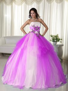 Two-toned Strapless Appliques Tulle Quince Dresses Custom Made