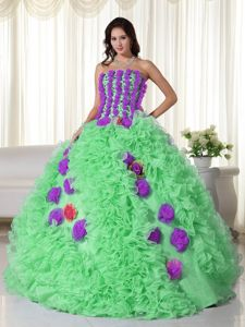 Strapless Hand Made Flowers Rolling Flowers Quince Party Dress for Grammy Award