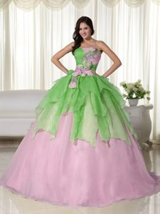 Green and Pink Strapless Hand Made Flowers Quinceanera Dresses