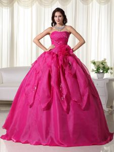 Hot Pink Strapless Appliques Hand Made Flowers Dress for Quince