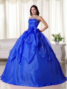 Royal Blue Strapless Embroidery Ball Gown Quinceanera Dresses
