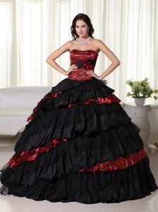 Exquisite Strapless Black and Red Tiered Zebra Quince Party Dress