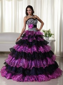 Multi-tiered Colorful Strapless Ruffled Zebra Accent Quince Dresses