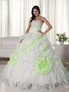 White Ball Gown Appliques and Ruffles Quinceanera Party Dress