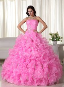 Rose Pink Strapless Appliques Quinceanera Dresses with Ruffles Plus