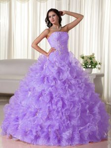 Chic Lilac Strapless Appliques and Ruffles Quinceanera Party Dress