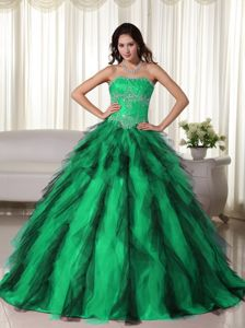 Green Ball Gown Taffeta Appliques and Ruffles Dress for Sweet 16