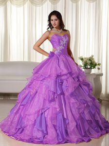 Lavender Sweetheart Appliques and Ruffles Accent Quince Dresses