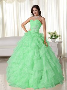 Apple Green Sweetheart Appliques and Ruffled Dress for Sweet 16
