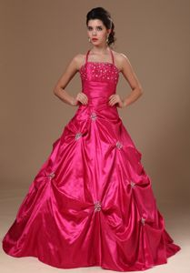 Red A-line Halter Beading Ruches and Pick-ups Quinceanera Dresses