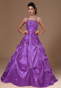 Cheap Halter Top Beaded Purple Quinceanera Gowns Under 200