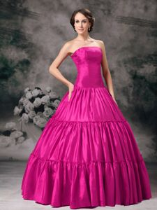 Simple Style Hot Pink Strapless Quinceanera Dress for Wholesale