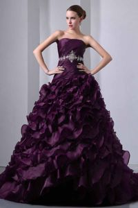 Strapless Ruffled Beaded Dark Purple Quince Dress Brush Train