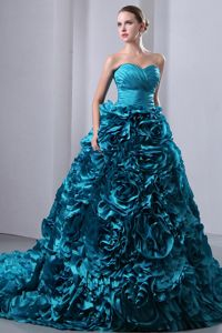 Mature Teal Quinceanera Gown with Rolling Flowers Court Train