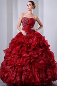 Cheap Princess Wine Red Beaded Ruffled Dresses for Sweet 16