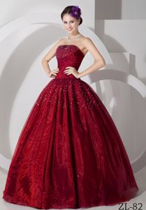 The Best Burgundy Strapless Beaded Quinceanera Party Dresses