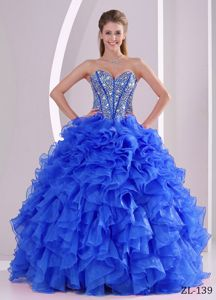 Graceful Ruffled Blue Quinceanera Gown Dress with Rhinestones