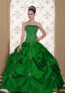 Dark Green Sweet 15 Dress with Embroidery and Pick-ups Online