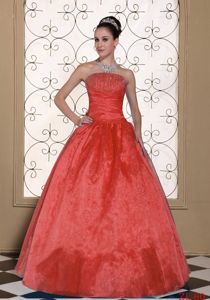 Unique Strapless Beaded Rust Red Quinceanera Dress in Fashion
