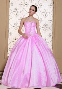 Dreamy Sweetheart Beaded Rose Pink Quinceanera Party Dress
