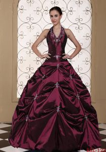 Halter Burgundy Sweet Sixteen Dress with Beading Embroidery