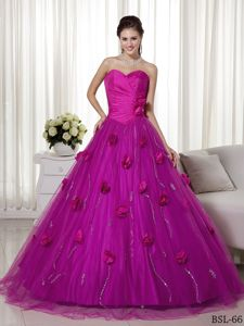 Best A-line Sweetheart Fuchsia Quinceanera Gowns with Flowers
