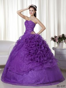 Attractive Organza Sweetheart Beaded Purple Sweet 15 Dresses