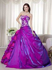 Free Shipping Ruffled Appliqued Purple Dress for a Quinceanera