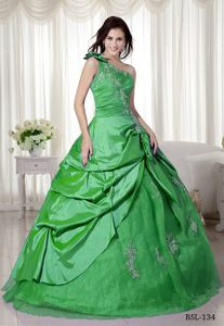 Modest Appliqued One Shoulder Green Quinceanera Party Dress