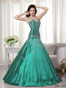 Low Price A-line Turquoise Quinceanera Gowns with Embroidery
