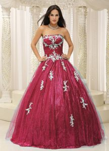 A-line Sequins Appliqued Burgundy Sweet 15/16 Birthday Dress