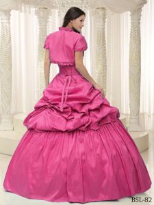 Gorgeous Pick-ups Appliqued Hot Pink Sweet 15 Dress Online