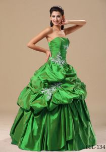 Brand New Taffeta Pick-ups Appliqued Green Quinceanera Dress