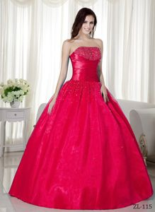 Simple Strapless Beaded Hot Pink Quinceanera Gown Dresses