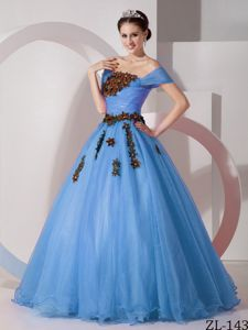Cheap Off The Shoulder Blue Dress for Sweet 15 with Appliques