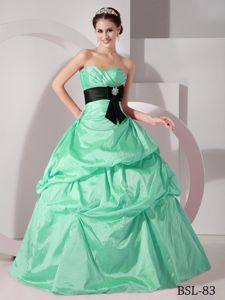 Attractive Ruched Sweetheart Apple Green Dress for Sweet 16