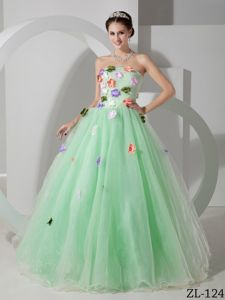 Discount A-line Apple Green Quinces Dress with Colorful Flowers