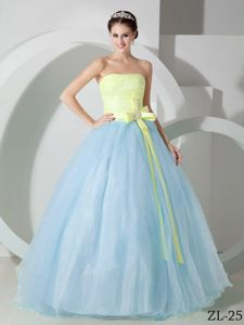 Strapless Two-toned Organza Quinceanera Party Dress with Sash