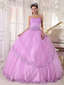 Appliqued Lilac Sweet 15/16 Birthday Dress with Lace Hem