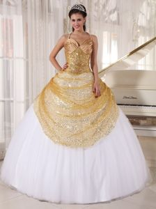 2012 the Best Halter Sequins Gold and White Sweet 15 Dresses ...